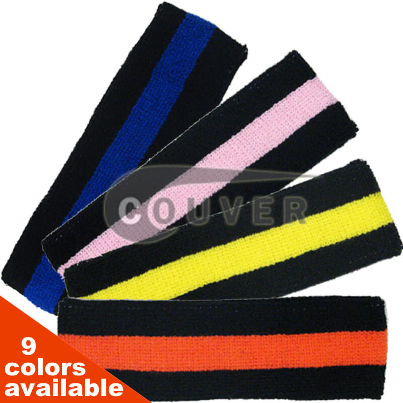 Black base Stripe Head Sweatband