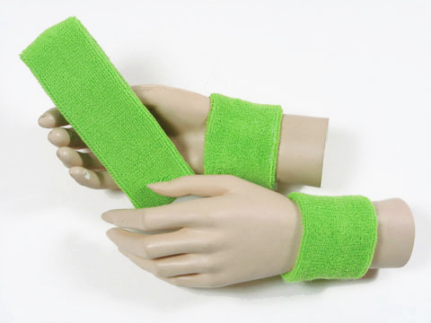 "Bright Lime Green COUVER head Sweatband & 2.5"" Wrist Sweatband Set 3Sets"