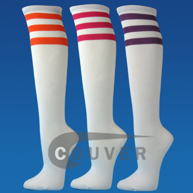 White 3Stripes Fashion Knee Sock