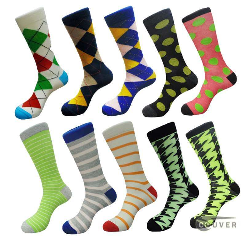 Men's Cotton Crew Crew Dress Socks Variety Designs [10 Pairs Bundle]