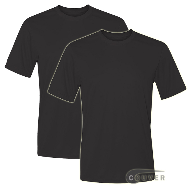 Hanes Short Sleeve Cool Dri UPF 50+ Performance Tee Black -2Piece Set