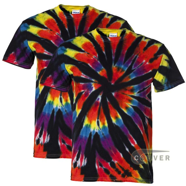 Tie-Dyed Rainbow Cut-Spiral Short Sleeve T-Shirt - 2 Pieces Set - Black