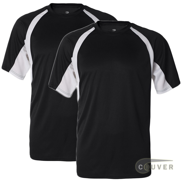 Badger Short Sleeve 2Tone Performance Tees 2Pieces Set - Black / White