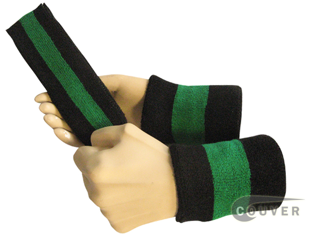 Black green black 2color striped sweatbands set