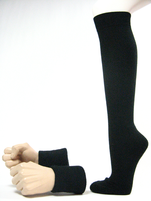 Black mens wrist sweatbands black sports knee socks set