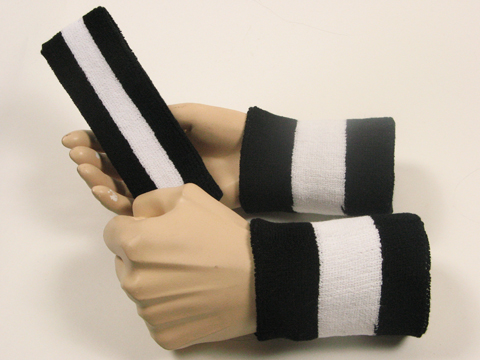 black white black 2color striped sweatbands set