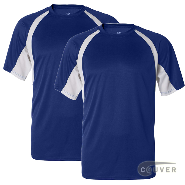 Badger Short Sleeve 2Tone Performance Tees 2Pieces Set - Blue / White