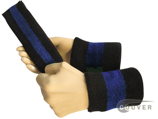 Black blue black 2color striped sweatbands set