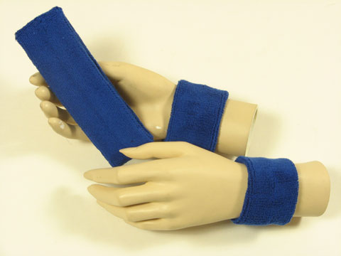Blue sports headband Blue sweat wristbands set [3sets]