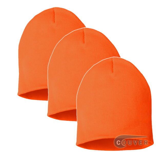 Bright Orange 8inch Acrylic Knit Beanies Cap 3Pieces Bulk Sale