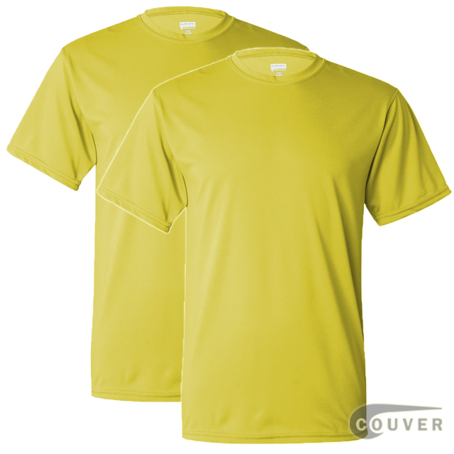 100% Poly Moisture Wicking T-Shirt - 2 Pieces Set(Bright Yellow)
