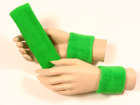 Bright green sports headband Bright green wristbands set [3sets]