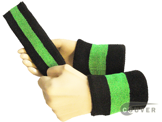 Black bright lime green black 2color striped sweatbands set