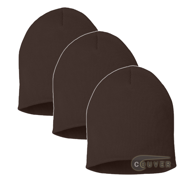 Brown 8inch Acrylic Knit Beanies Cap 3Pieces Bulk Sale