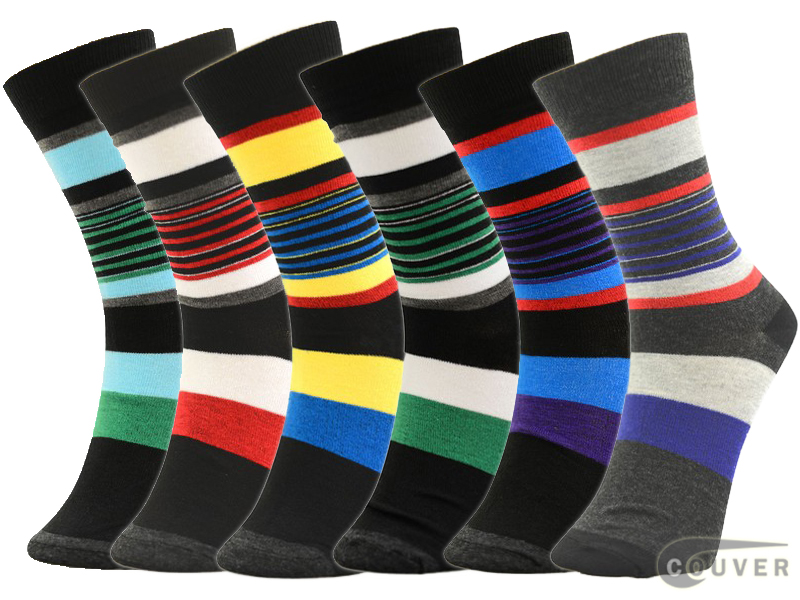 WHOLESALE Men's Designed Striped Dress Socks Mixed 6 Pairs Bulk Sale