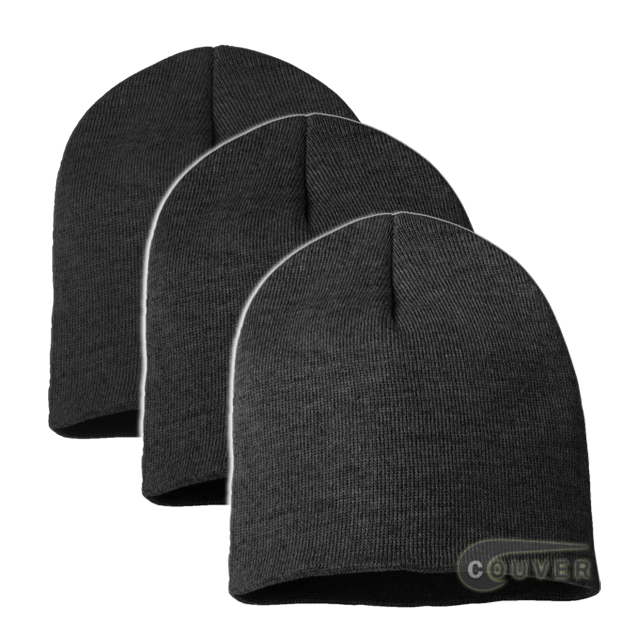 Charcoal Gray 8inch Acrylic Knit Beanies Cap 3Pieces Bulk Sale