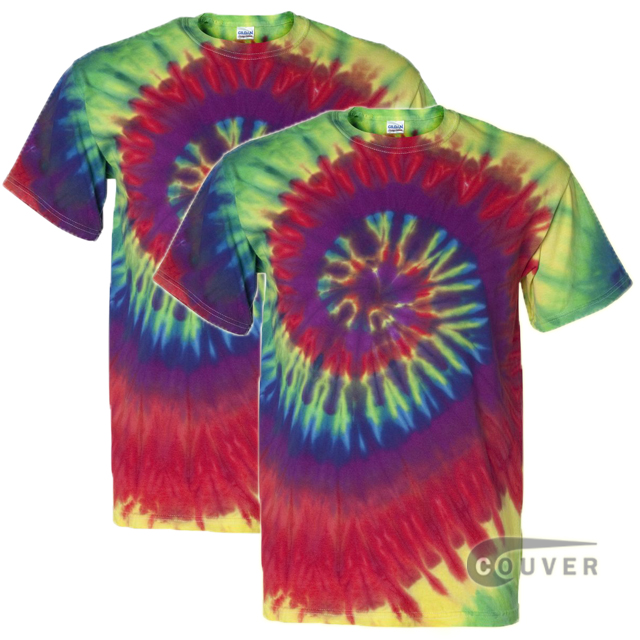 Tie-Dyed Short Sleeve T-Shirt 2 Pieces Set - Rainbow Swirl