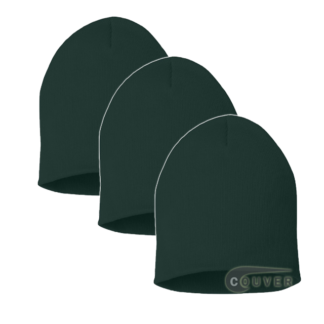 Dark Green 8inch Acrylic Knit Beanie Cap 3Pieces Bulk Sale