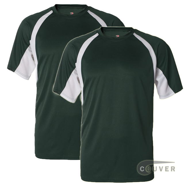 Badger Short Sleeve 2Tone Performance Tees 2Pieces Set - Forest / White