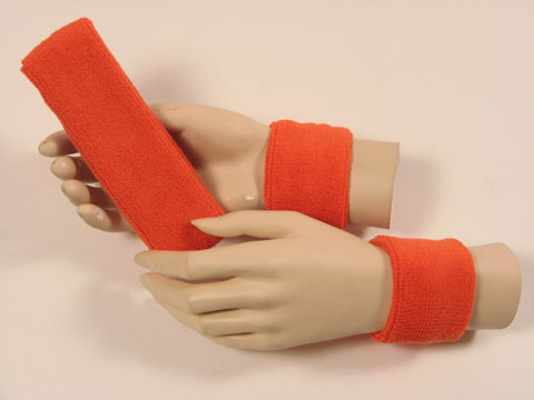 Dark orange sports headband Dark orange wristbands set [3sets]