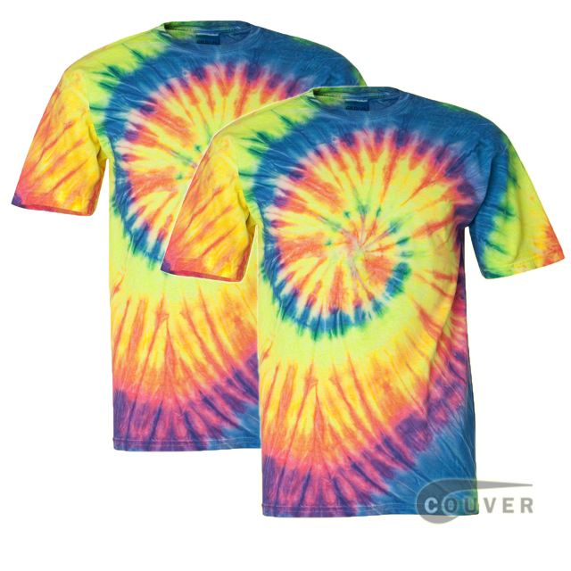 Tie-Dyed Short Sleeve T-Shirt 2 Pieces Set - Fluorescent Rainbow Swirl