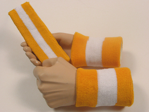 golden yellow white 2color striped sweatbands set