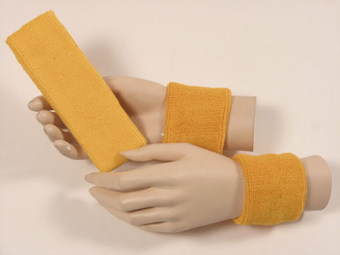 Golden yellow sports headband sweat wristbands set [3sets]