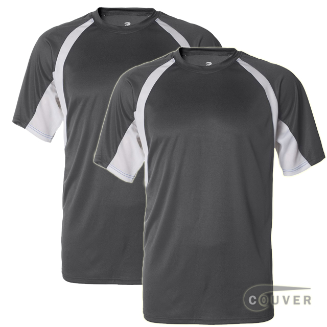 Badger Short Sleeve 2Tone Performance Tee 2Pieces Set - Charcoal / White