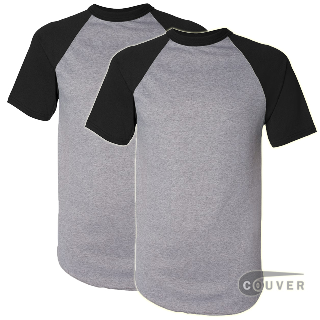 Augusta Sportswear 50/50 S-Sleeve Raglan T-Shirt Gray/Black 2 Pieces Set