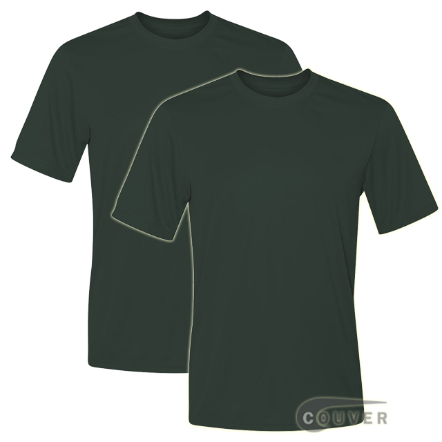 Hanes Short Sleeve Cool Dri UPF 50+Performance Tee Dark Green-2Piece Set
