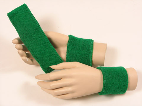 Green sports headband Green sweat wristbands set [3sets]