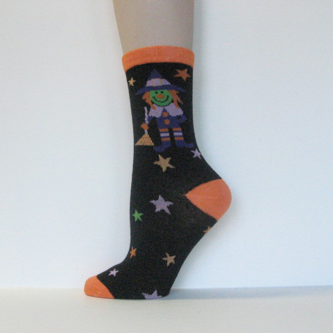 Halloween Kids Youth Black Witch Stars Ankle-high Socks [1pair]