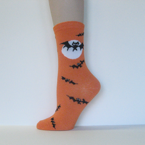 Halloween Kids Youth Orange Ankle Socks Bats and Moon [1pair]