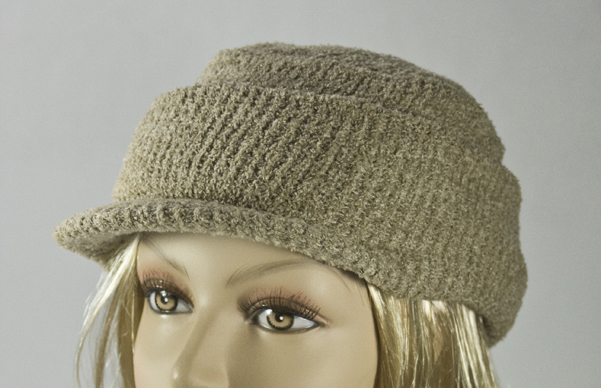 Dark Khaki Visor Thick Winter Knit Cap With Cuff [1piece]