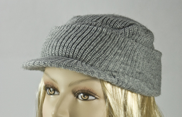 Light Gray Visor Winter Knit Cap With Cuff [1piece]