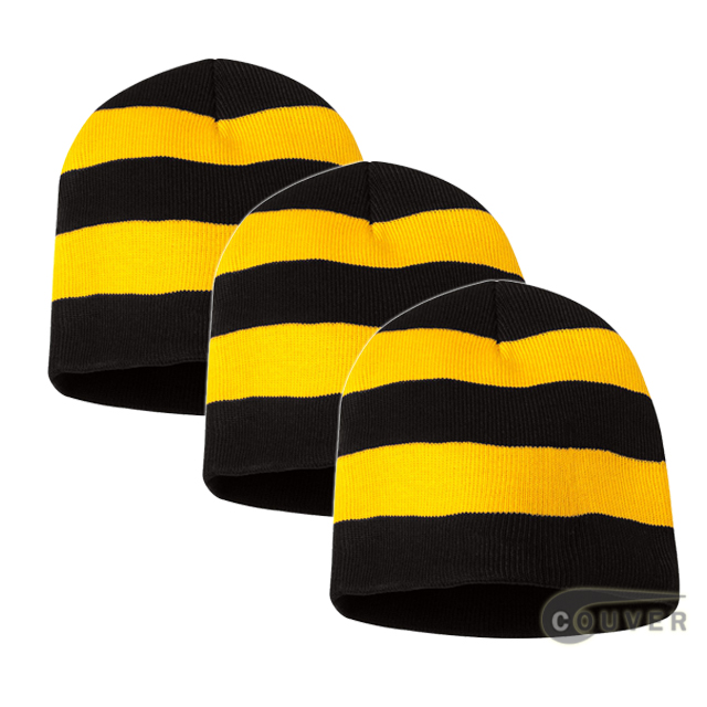 Rugby Striped Knit Beanies Cap(Black/Golden Yellow) - 3 Pieces Bulk Sale