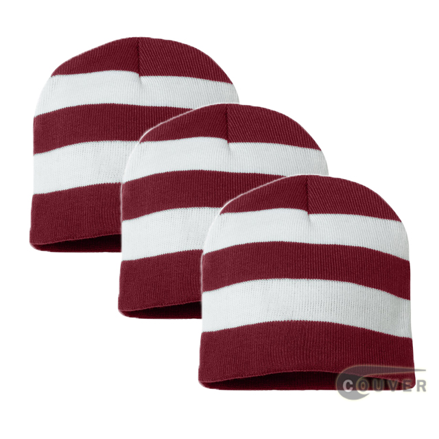 Rugby Striped Knit Beanies Cap(cardinal/white) - 3 Pieces Bulk Sale