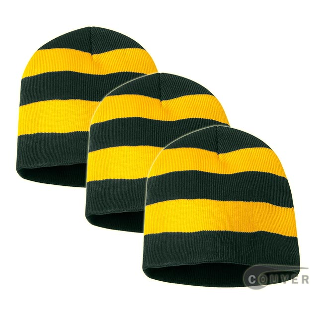 Rugby Striped Knit Beanies Cap(Forest/Gold) - 3 Pieces Bulk Sale