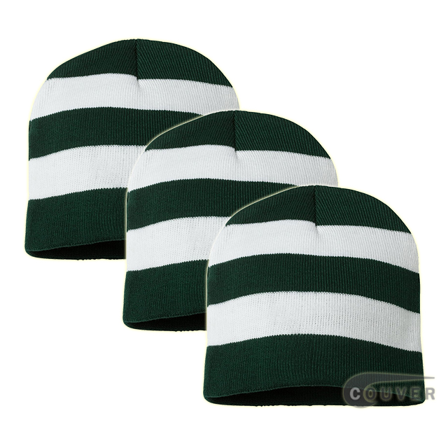Rugby Striped Knit Beanies Cap(Forest/White) - 3 Pieces Bulk Sale