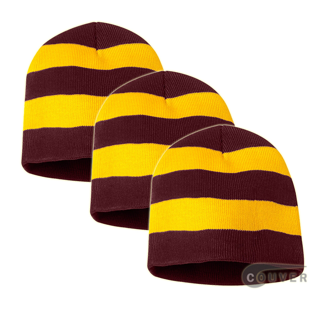 Rugby Striped Knit Beanies Cap(Maroon/Gold) - 3 Pieces Bulk Sale