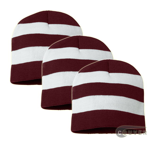 Rugby Striped Knit Beanies Cap(Maroon/White) - 3 Pieces Bulk Sale