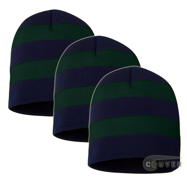 Rugby Striped Knit Beanies Cap(Navy/Forest) - 3 Pieces Bulk Sale