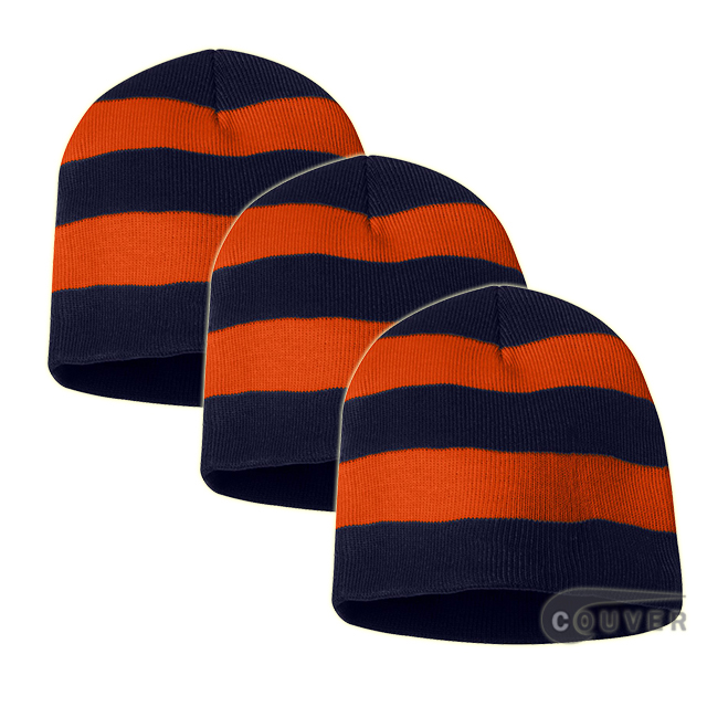 Rugby Striped Knit Beanies Cap(Navy/Orange) - 3 Pieces Bulk Sale