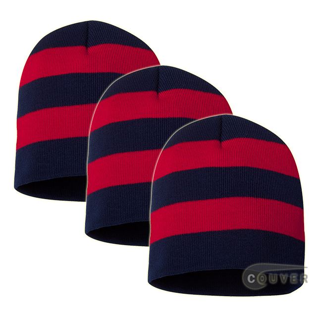Rugby Striped Knit Beanies Cap(Navy/Red) - 3 Pieces Bulk Sale