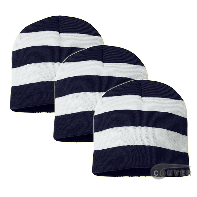 Rugby Striped Knit Beanies Cap(Navy/White) - 3 Pieces Bulk Sale