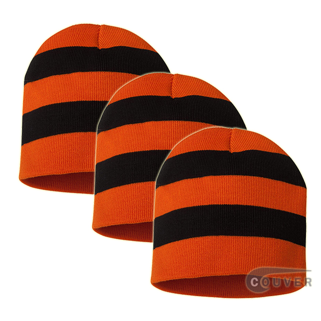 Rugby Striped Knit Beanies Cap(Orange/Black) - 3 Pieces Bulk Sale