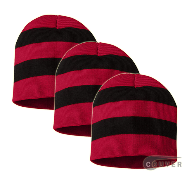 Rugby Striped Knit Beanies Cap(Red/Black) - 3 Pieces Bulk Sale