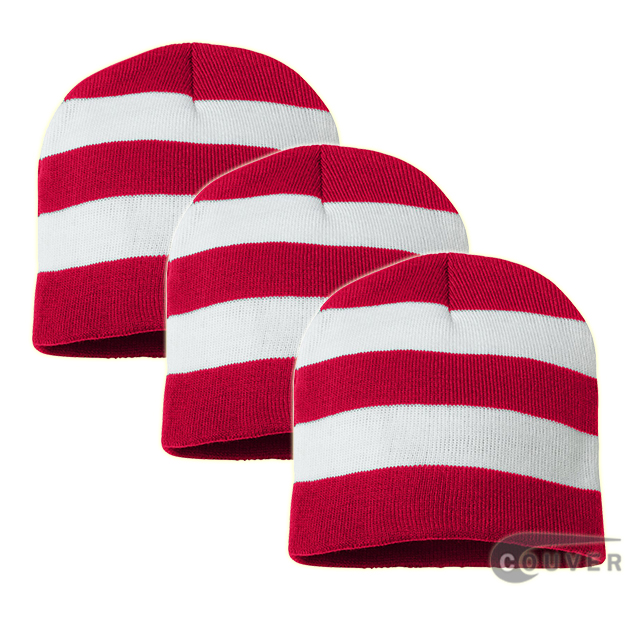 Rugby Striped Knit Beanies Cap(Red/White) - 3 Pieces Bulk Sale