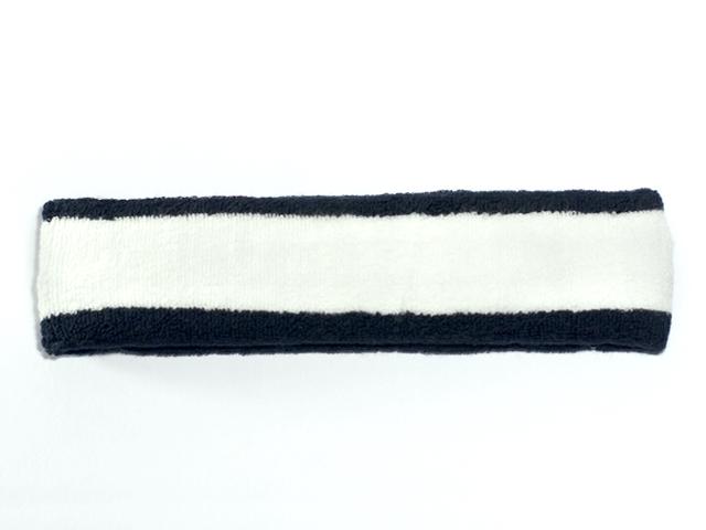 White with Navy trim Large Basketball Head Sweatband