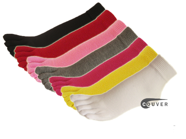 COUVER 5finger Toes Ankle Toe Socks Wholesale Mixed in Color, 6Pairs